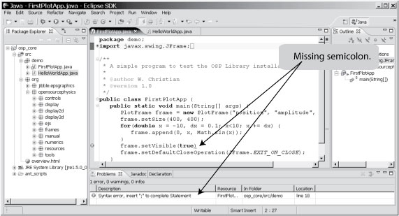 Eclipse IDE showing a programming error.